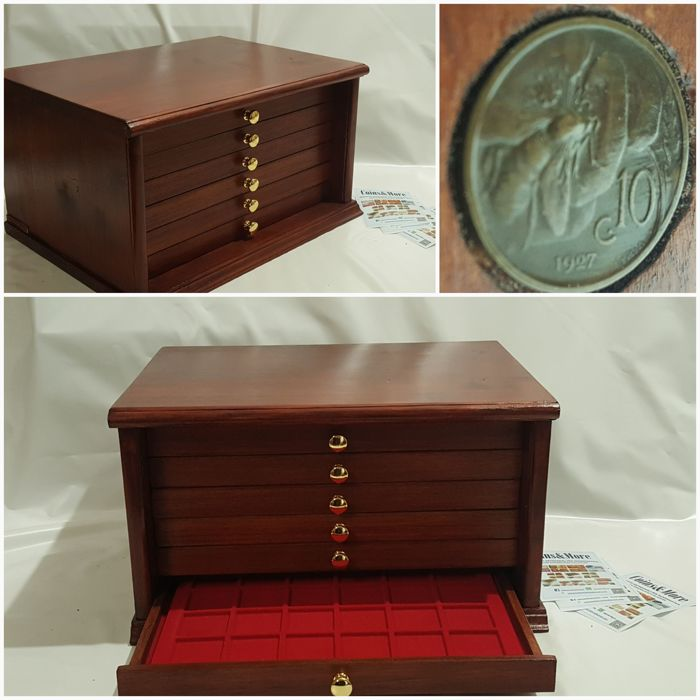 6-drawer mahogany coin cabinet with trays for numismatics accessories