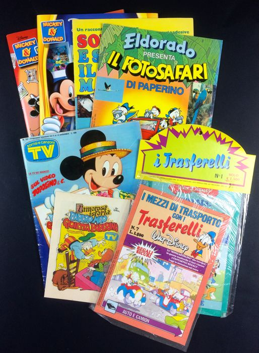 "Walt Disney - lot of 7x items - sticker albums, ""trasferelli"" and magazines - (1979/2005)"