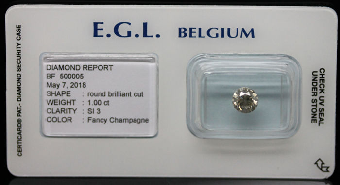 1.00 ct. Natural Fancy Champagne Coloured Diamond - NO RESERVE