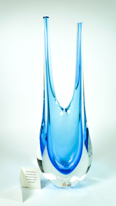 Wave Murano Glass (Roberto Beltrami) - Sommerso vase with two tips (38 cm)