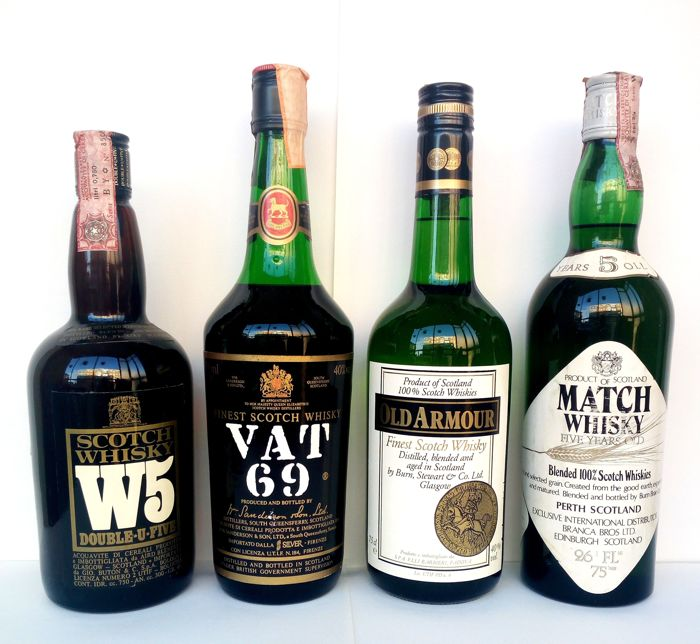 4 bottles - W5 - VAT 69 - Old Armour - Match Whisky - 4x 75cl