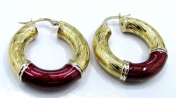 Yellow gold creole earrings with fired enamel - 7.5 grams - 28 mm diameter