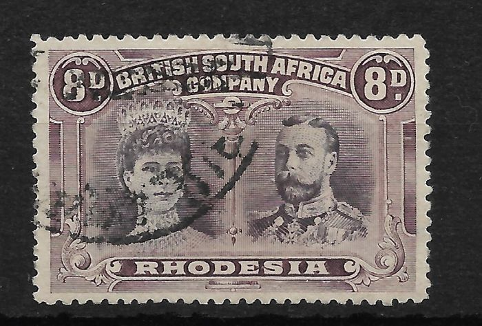 Rhodesia 1913 - double head, 8d Stanley Gibbons 147 perf 14