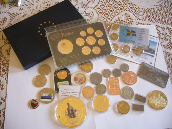 SET 9 coins gold plated and rhodium Luxembourg   + 1 bullion titanium  999/1000  +giant medal Germany  110 grams  +  a lot of coin and bullion  gold plated