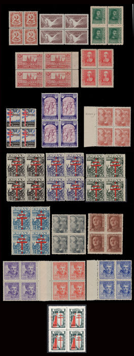 Spain 1936/1945 - Spanish State  Lot 18 blocks of 4 - Edifil - 803, 832, 834, 841A, 857, 866, 909, 920, 930, 954/56, 971...