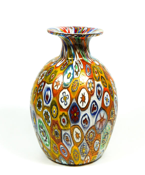 Campanella Livio (Murano) - Millefiori Murrina and 24 kt gold vase