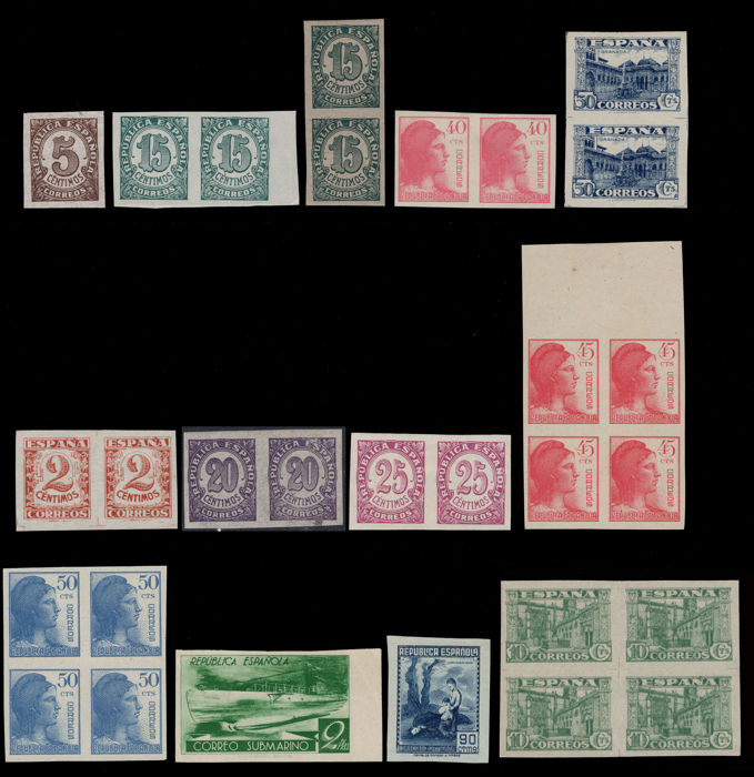 Spain 1936/1938 - 1st Centenary Lot 12 imperforated pieces (29 stamps)