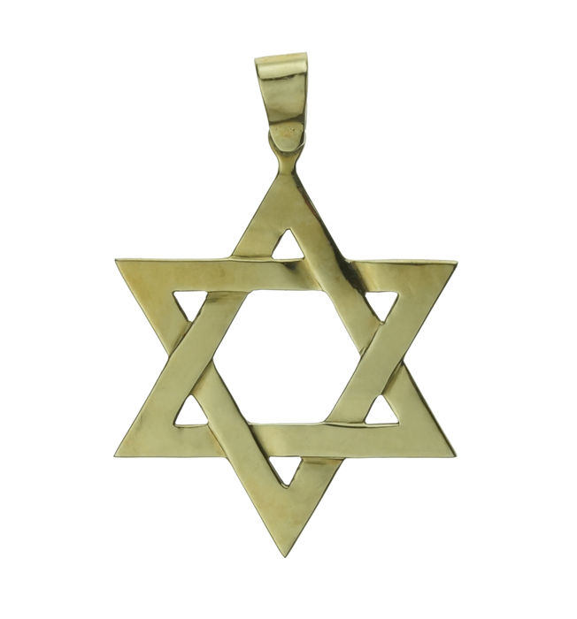 Large and heavy 14 karat gold Star of David pendant - handmade.