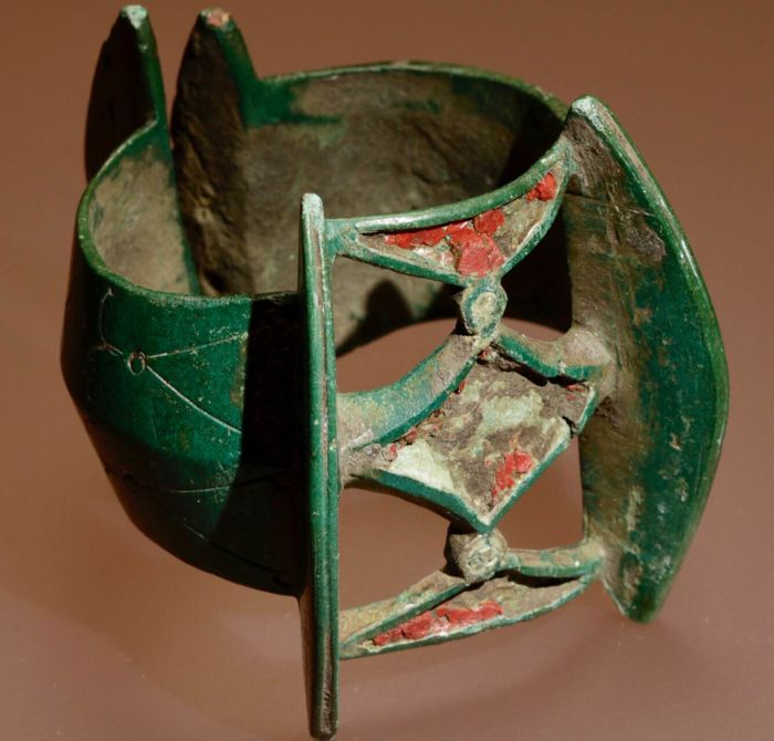 Viking Age - Excellent Bronze Enamelled Bracelet with beautiful Decoration / 64mm/72mm