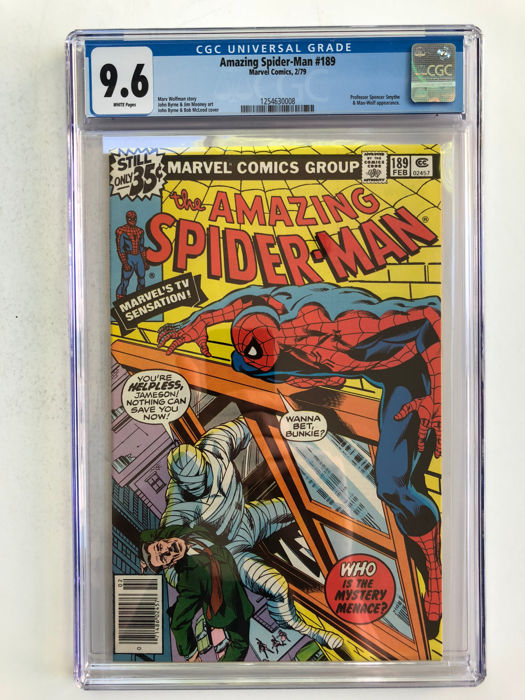 The Amazing Spider-Man #189 - CGC Graded 9.6 - Professor Smythe & Man - Wolf Appearance - Extremely High Grade!! - Prima Edizione - (1979)