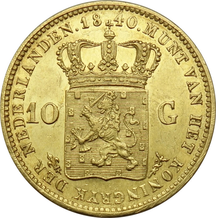 10 Gulden goud 1840 over 1837