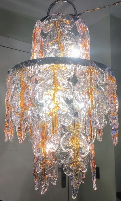 Murano (Not Attributed) - Chandelier amber and transparent leaves 1970s