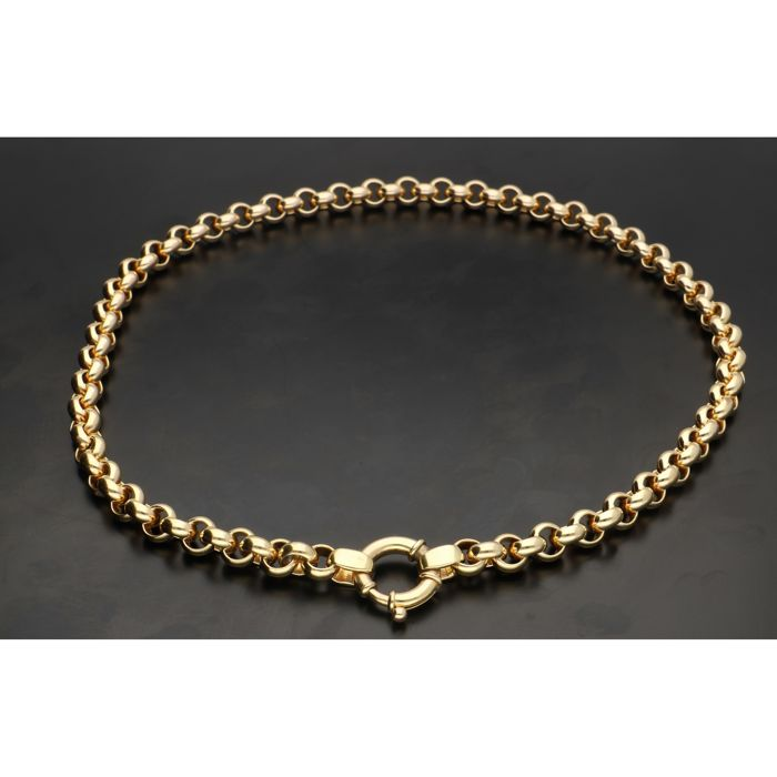 14 kt Yellow gold jasseron link necklace, 45 cm long