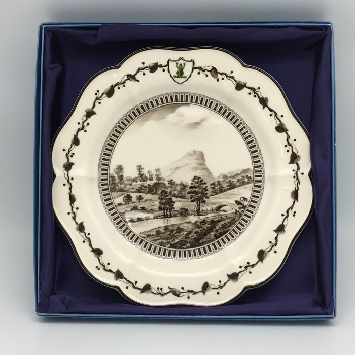 "Two replica Wedgwood plates, replica of the ""Frog"" crockery by Catharine the Great of Russia, England, late 20th century"