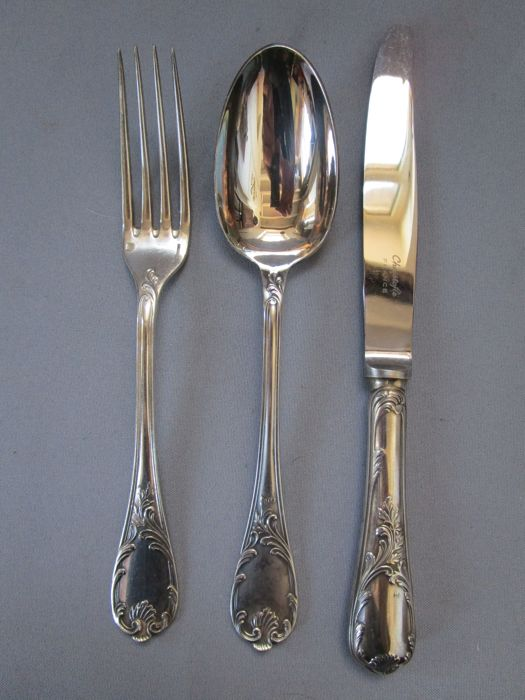 "Christofle,Serie "" MARLY ""  Paris, 2nd half of the 20th century - dining cutlery - 3 pieces - very good / almost unused condition"