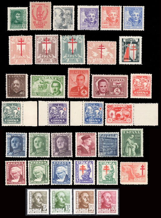Spain 1939/1949 - Spanish State  Lot series and stamps - Edifil 841A, 852, 931, 954/56, 957/60, 971, 989, 990, 991/92, 993/97, 999/1001, 1002/4, 1005/7, 1020/23