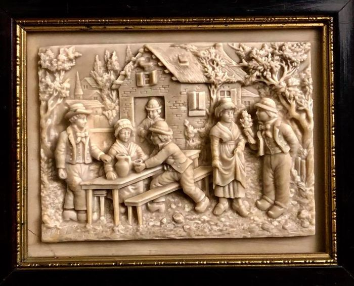 "Plaque in  calcareous stone, depicting a "" village scene "" made in the Fontaine Terrifiante du Pont Naturel de St Alyre, Clermont Ferrand - France - early 20th Century"