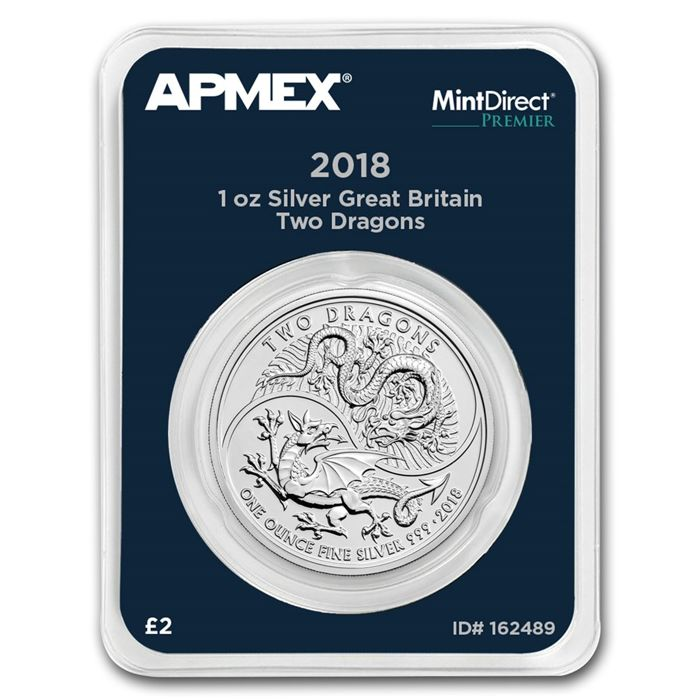 United Kingdom - 2 pounds 2018 - Two Dragons - MintDirect slap packaging - 1 oz 999 silver