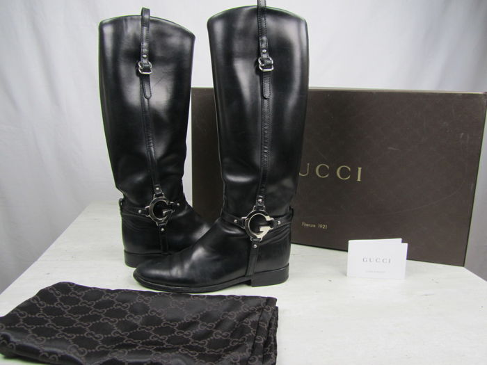 b45b0e688e2 Gucci - Leather Riding Boots - Catawiki