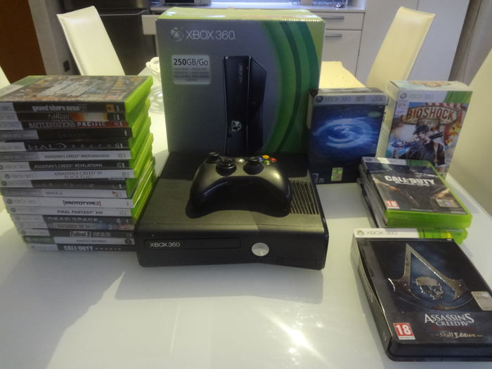 Xbox 360 Slim 250 gb black version with 24 games