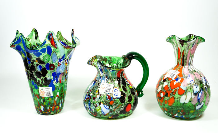 Imperio Rossi (Murano) - Set of three green Fantasy vases