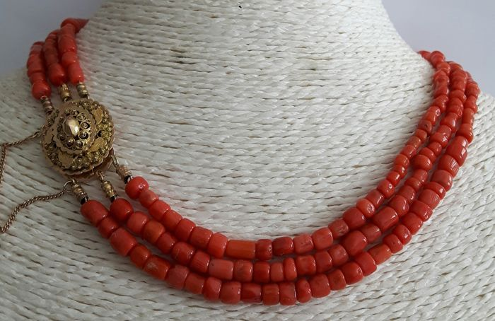 3 strands of Mediterranean Sea coral with an Antique 14 karat gold traditional costume clasp from around 1900