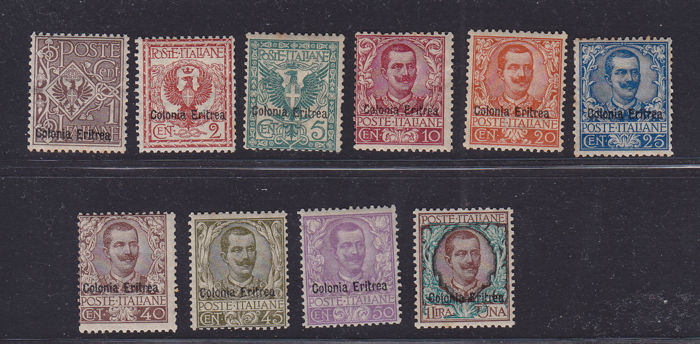 Eritrea 1902 - 'Floreale' series overprinted with 'Colonia Eritrea', 10 stamps - Sassone nos. 19/28