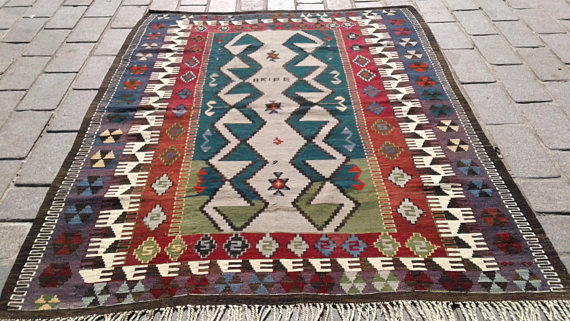 Old Obruk Kilim from Konya, Turkey, 147 x 190 cm