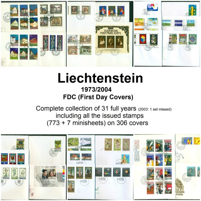 Liechtenstein 1973/2004 - FDC Complete collection of 31 years on 306 First Day covers