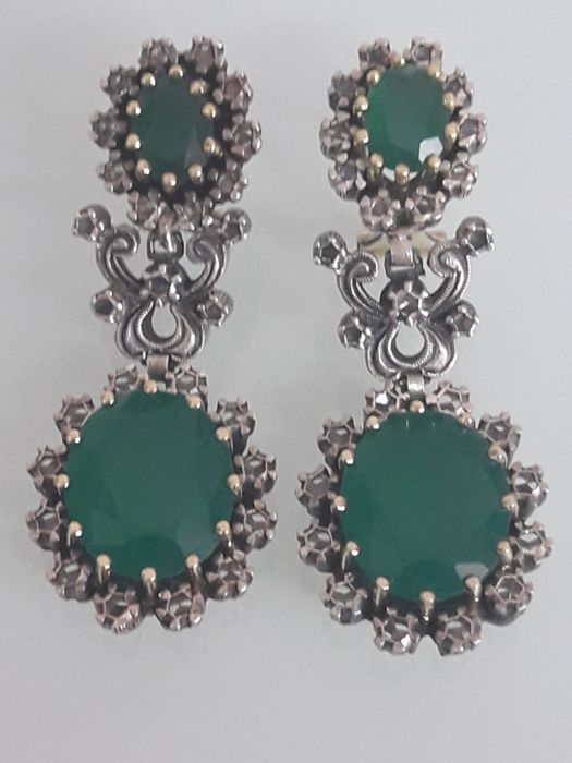 Antique earrings made of Gold, Silver, Emeralds, and Diamonds