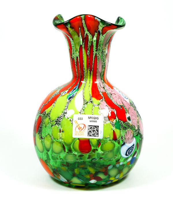 Imperio Rossi (Murano) - Quadrifoglio Vase, Green Murrina and Silver