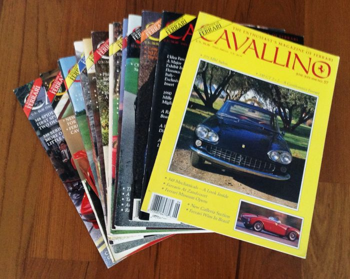 Very interesting lot -- 20 Ferrari magazines 'CAVALLINO' from issue no. 55 to no. 74 1990/1993 -- Ferrari 1999 yearbook and six more magazines