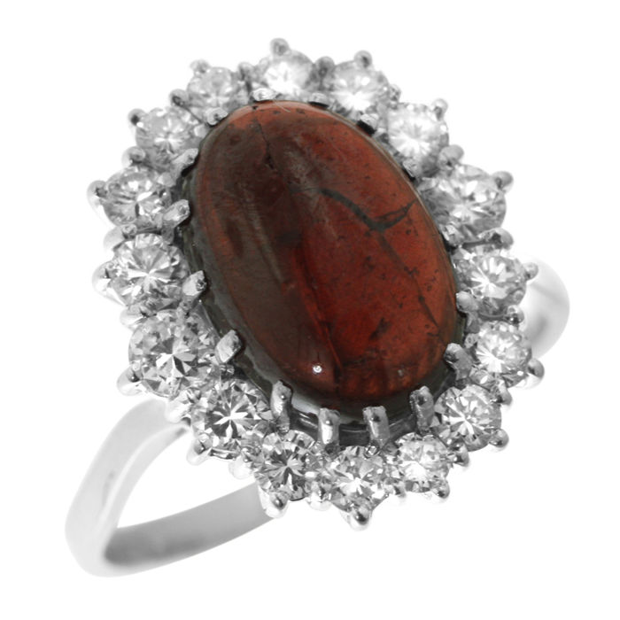 Cabochon-cut Grenade and 1.12ct Diamond Ring, as new. Ring size: 52-16 1/2-M (UK)