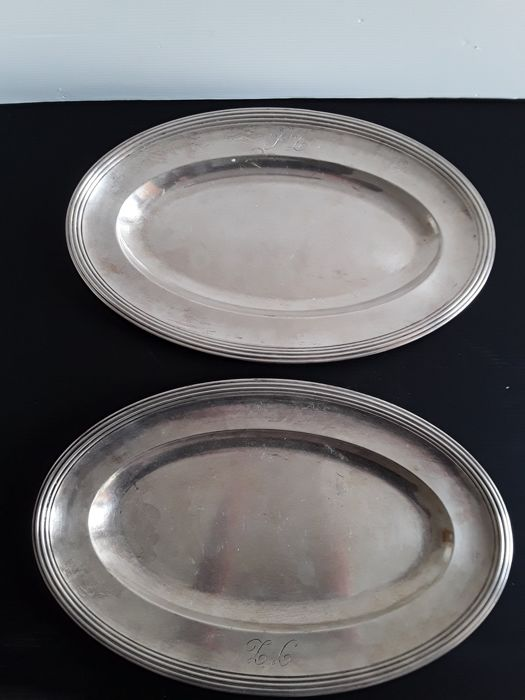 Christofle silver plated oval trays, Paris 1950