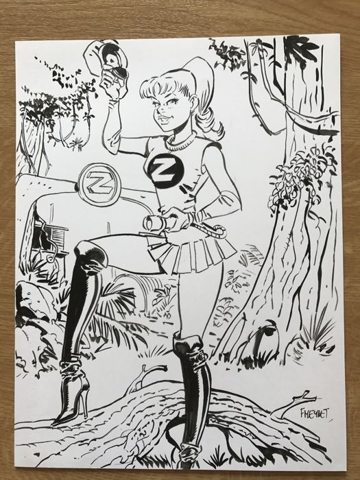Meynet, Félix - Original drawing - Spirou and Fantasio - Seccotine - Tribute to Franquin (2015)
