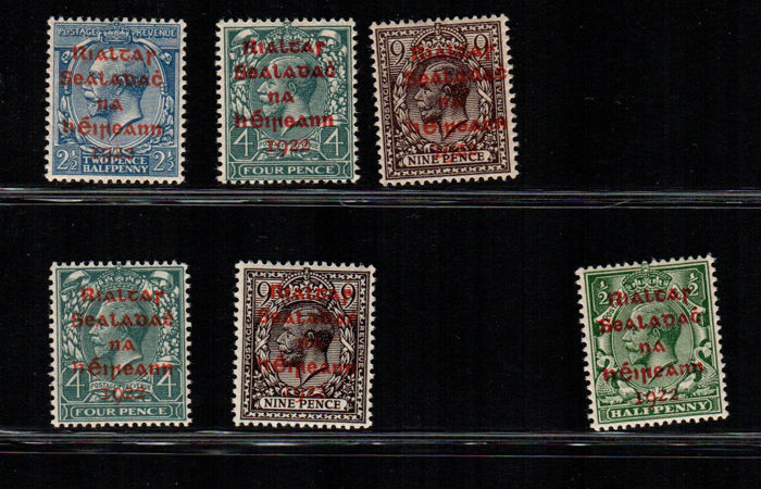 Ireland 1922 - Overprinted in red - Unificato 16A/18A, 17Aa/18Aa, 15A