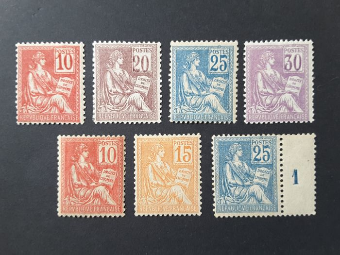 France 1900/1901 - Mouchon Type, complete set type I and II - Yvert no. 112 to 118