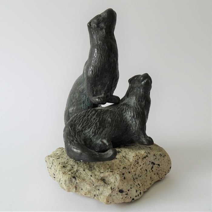 Bronze sculpture of two otters on a rock - 2nd half of the 20th century