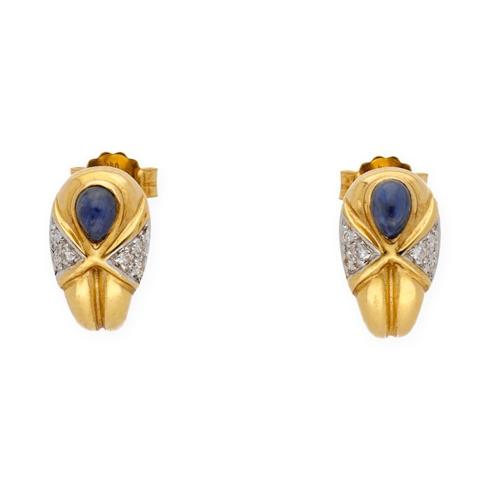 Yellow gold 18 kt - Earrings - Brilliant cut diamonds - Pear cabochon cut sapphire - Earring height 12.90 mm