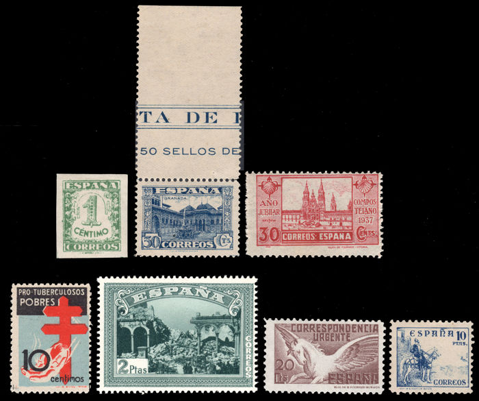 Spain 1936/1940 - Lot 7 stamps without hinge Spanish State - Edifil  802, 809, 830, 832, 834, sh 837, 840