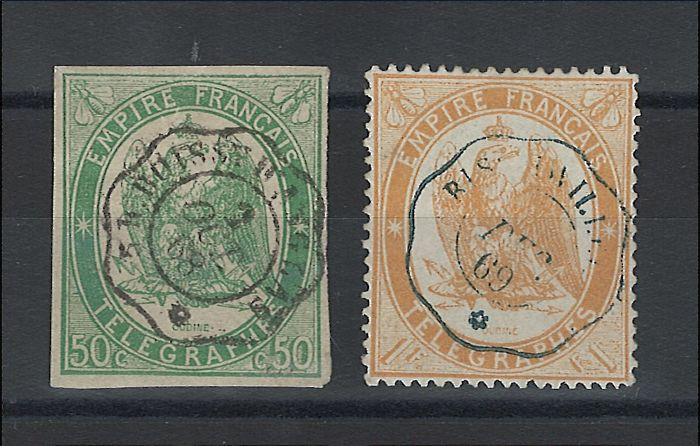 France 1868 - Stamps for the Telegraph - Yvert no. 2 and 7