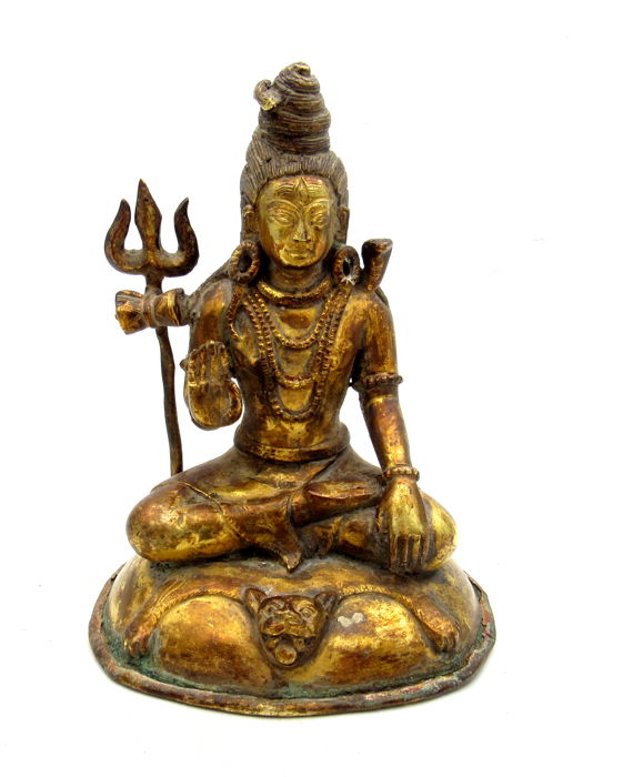 Qing Dynasty Gilded Bronze Statue of a Mahasidda  - 150x113 mm