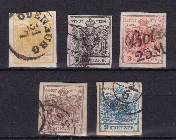 Austria 1850 - 1k/9k. Set of 5 stamps.