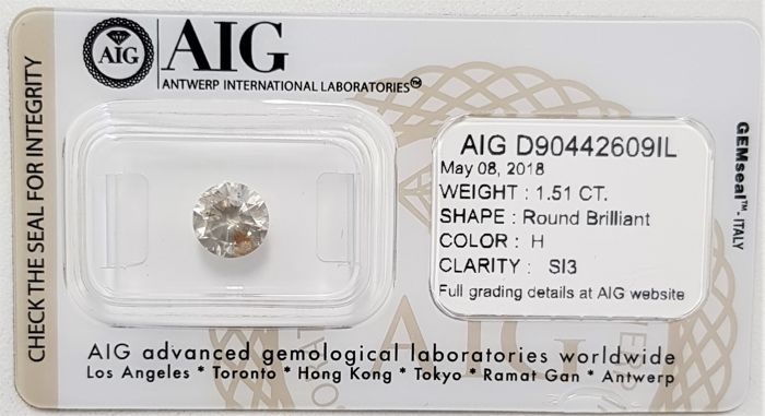 1.51 ct - Natural White Diamond - H Color - SI3 - 3EX - No Reserve!