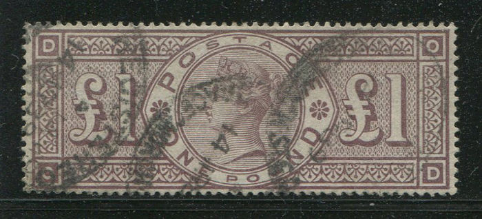 Great Britain 1883/1884 - Queen Victoria £1 brown lilac - Stanley Gibbons 186 watermark ORBS