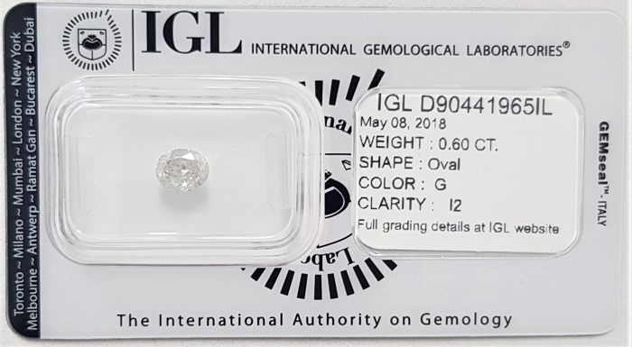 0.60 ct - Natural White Diamond - G Color - I2- No Reserve!