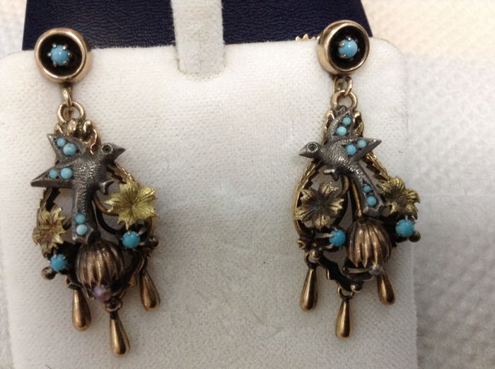 Antique 14K Gold Turquoise Bird Swallow Chandelier  Earrings