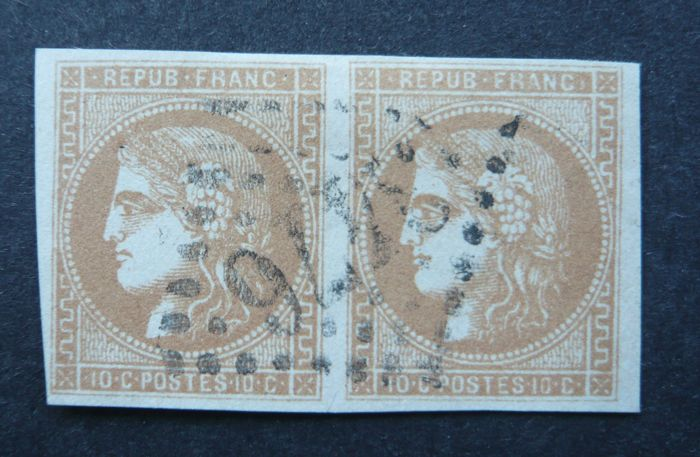 France 1870 - 10 c bistre-orange in pair, signed Calves with digital certificate - Yvert no. 43B