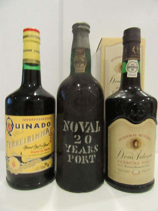 "20 Years Old Tawny Port - Noval - bottled in 1976 & Ferreira ""Personal Reserve Dona Antonia"" & Ferreira ""Quinado Ferreirinha"" - 3 bottles in total 75cl"