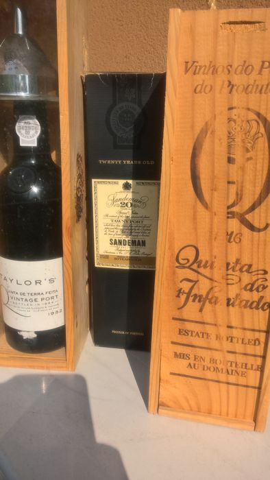 1982 Vintage Port - Taylor's Quinta de Terra Feita & 1985 Vintage Port - Quinta do Infantado & 20 years old Tawny Port - Sandeman - bottled in 1994 - 3 bottles in total